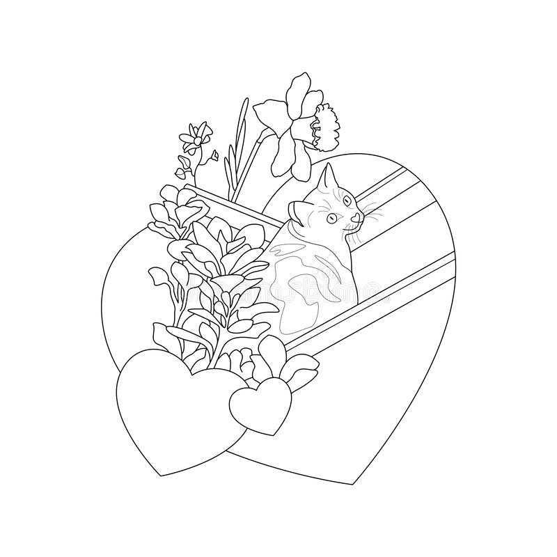 Cat coloring page. Cute cat in the deckchair. With pretty flowers and hearts. Cute little cat. Coloring page, black and white. Art Therapy. illustration vector royalty free illustration