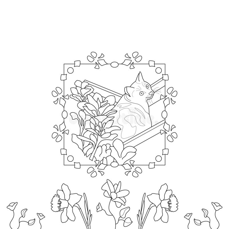 Cat coloring page. Cute cat in the deckchair. With pretty flowers. illustration vector. Cute little cat. Coloring page, black and white. Art Therapy stock illustration