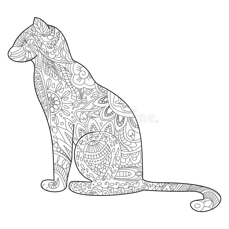 Cat Coloring vector for adults. Cat Coloring pet adult vector illustration. Anti-stress coloring for adults. Zentangle style. Black and white lines. lace royalty free illustration