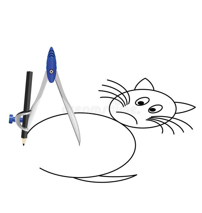 Download Cat with a compass stock vector. Image of artistic, construct - 14857867