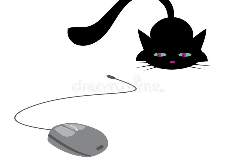 Download Cat and computer mouse stock vector. Illustration of equipment - 9101042