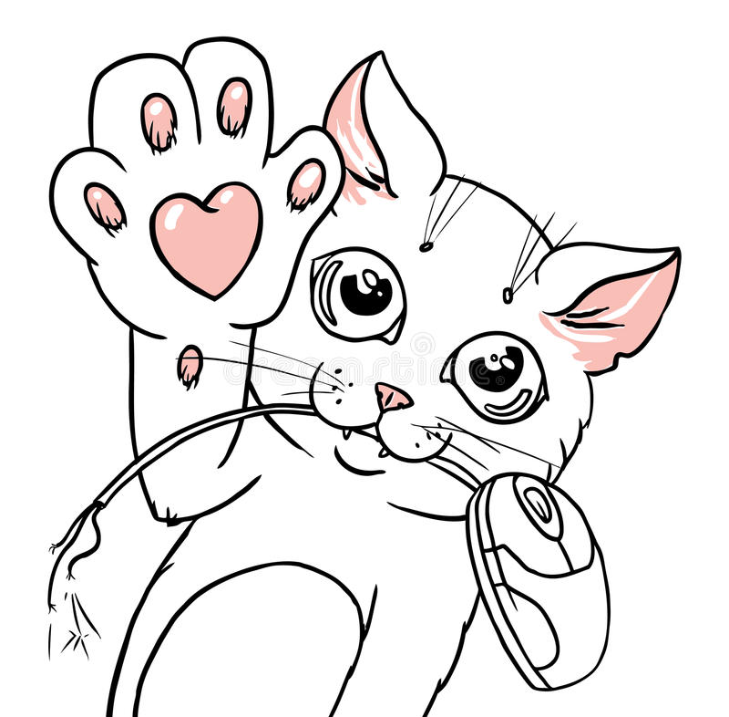Cat with a computer mouse in its teeth graphic ill. Graphic vector illustration of a cat with a heart on its paw holding detached computer mouse in its teeth vector illustration