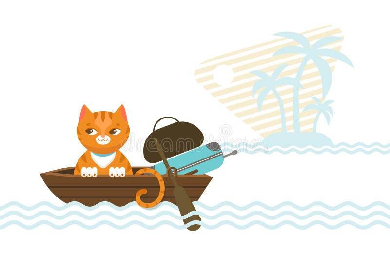 Cat Concept que viaja colorida stock de ilustración