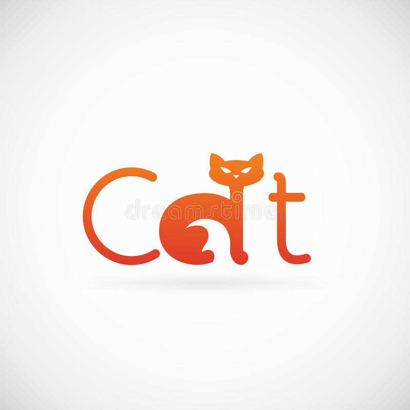 Cat Concept Symbol Icon ou Logo Template ilustração do vetor