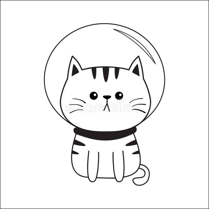 Cat cosmonaut astronaut spaceman wearing space suit. Contour line. Sad head face. Cute cartoon kitty character. Kawaii animal. Fun vector illustration
