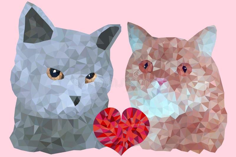 Cat Couple stock de ilustración