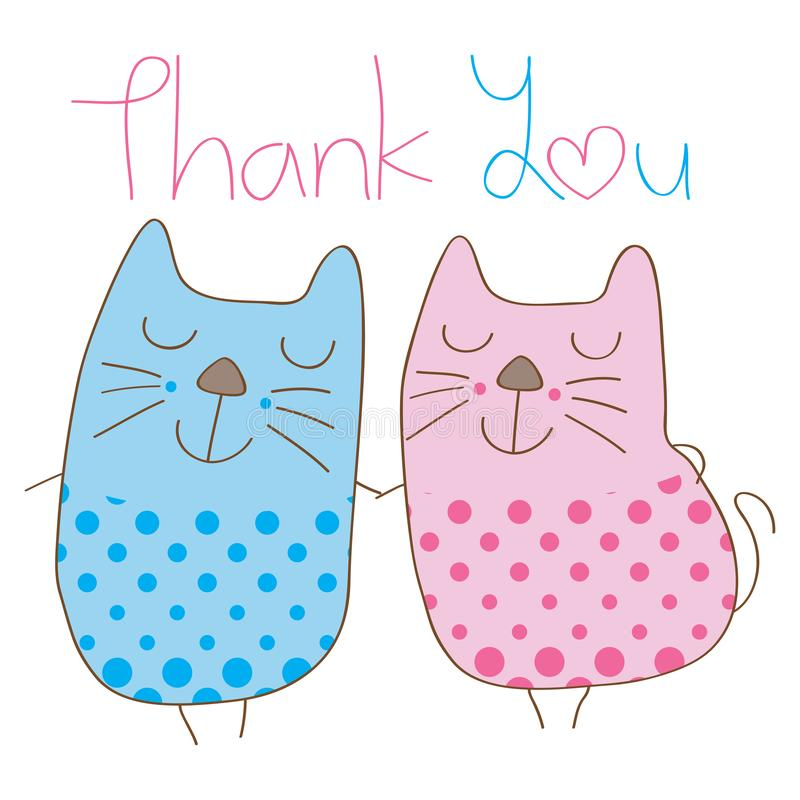 Cat couple thank you cover royalty free illustration