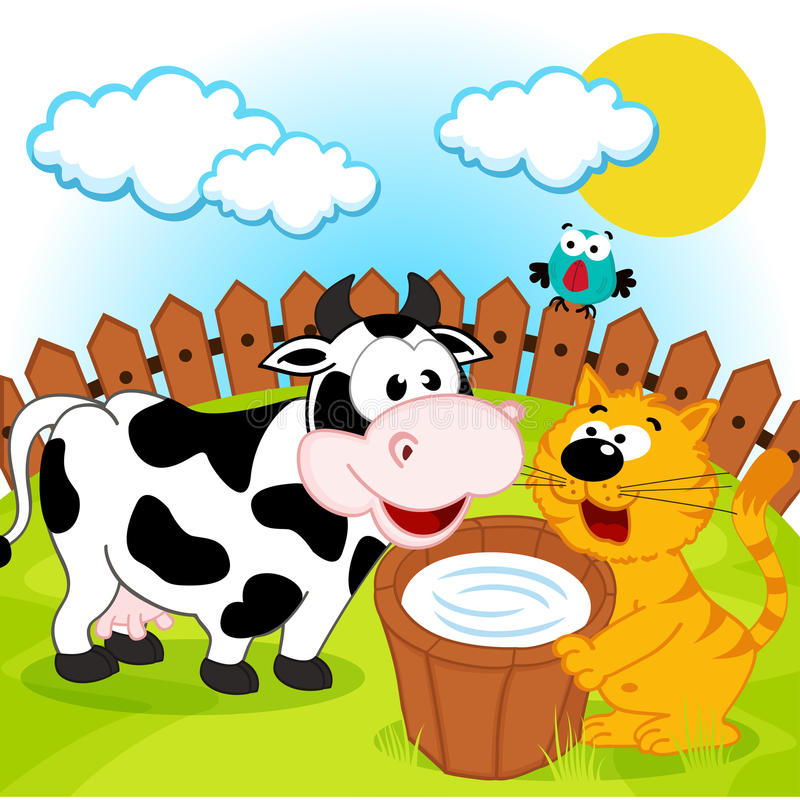 Cat, cow and milk royalty free illustration