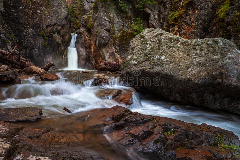 Cat Creek waterfall in Kananaskis Country, Alberta royalty free stock photo