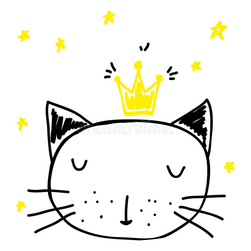 Cat in the crown. Cartoon kings cat with stars. Sleeping pet illustration royalty free illustration