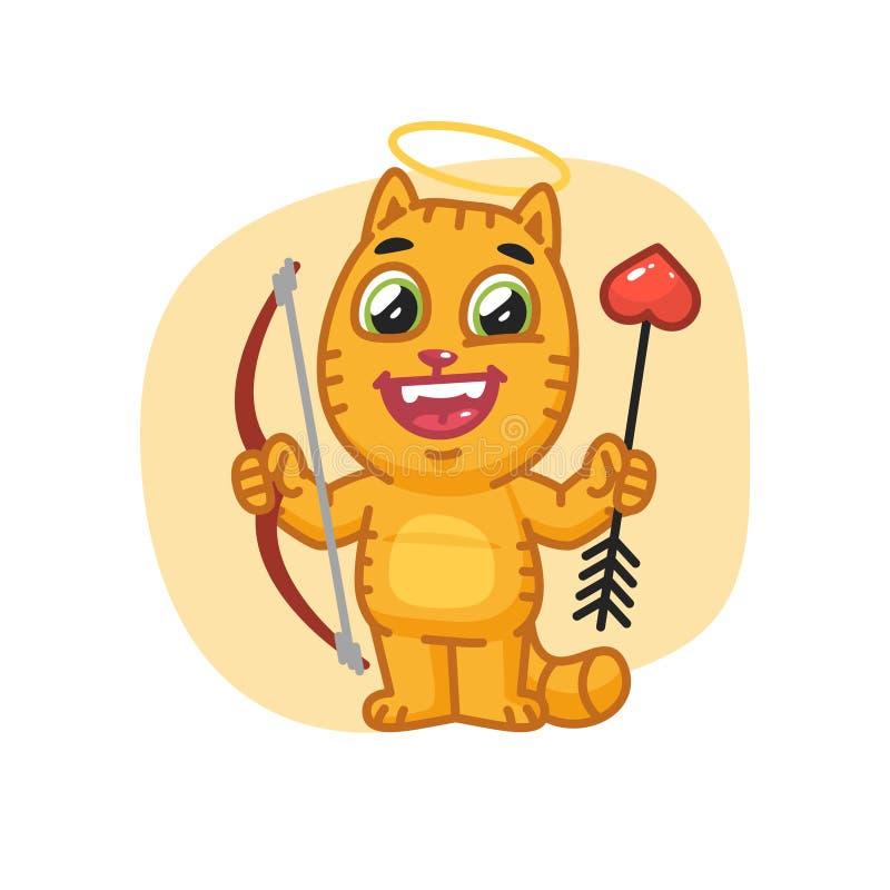 Cat Cupid Holding Bow y flecha stock de ilustración