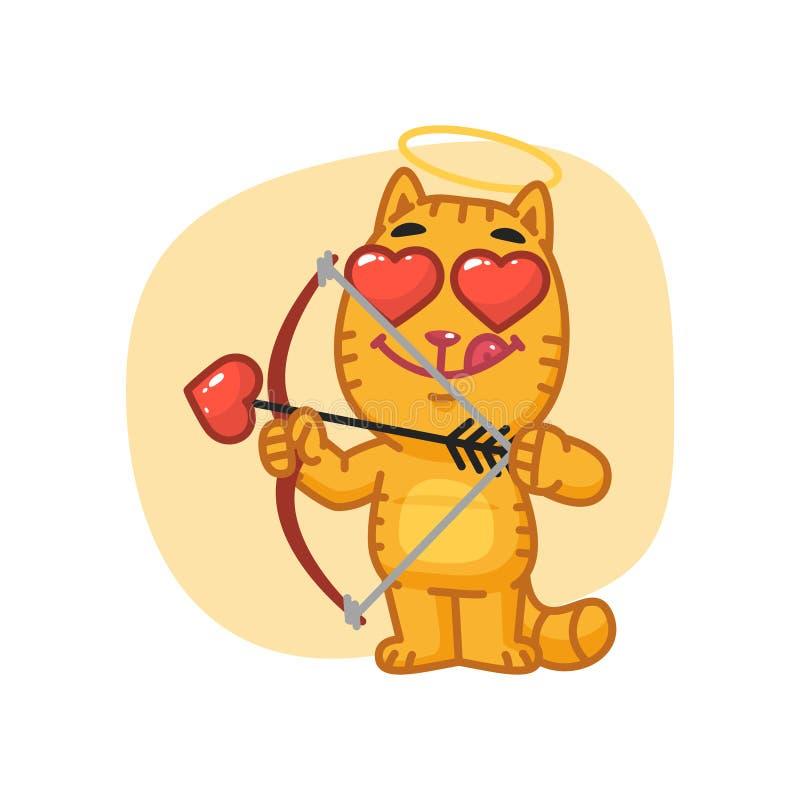 Cat Cupid Shoots dall'arco illustrazione vettoriale