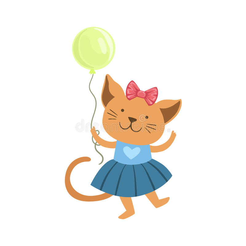 Cat Cute Animal Character Attending Birthday Party. Childish Cartoon Style Animal Dressed In Human Clothes Vector Sticker royalty free illustration