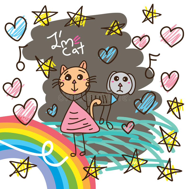 Cat cute dog card stock illustration