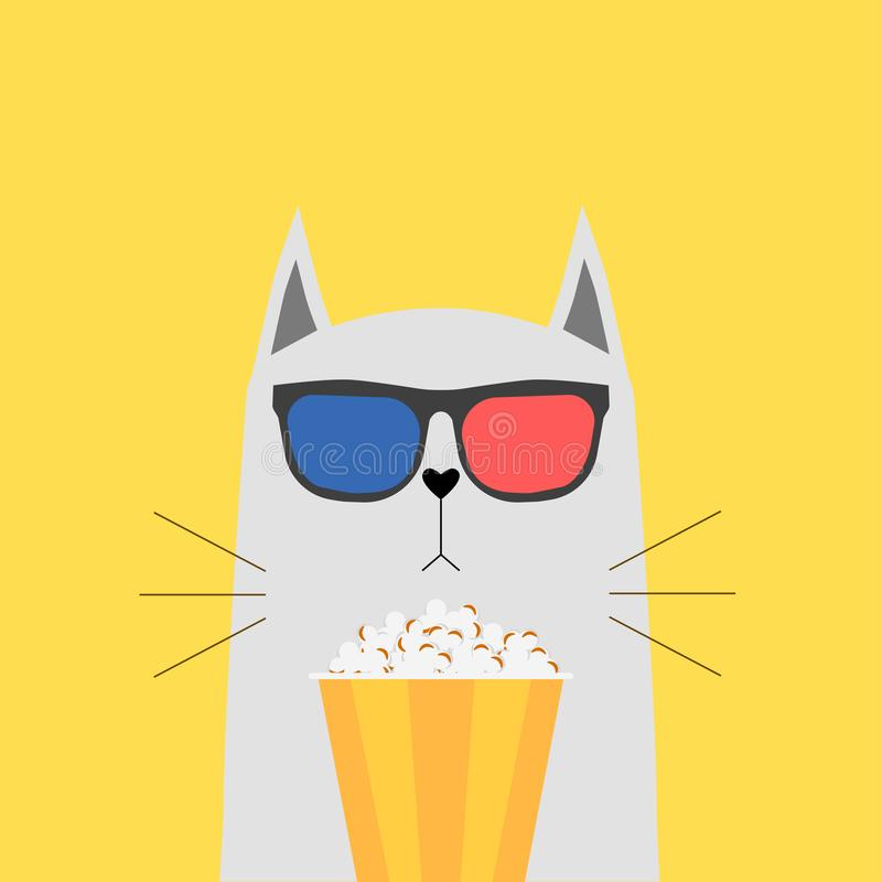 Cat in 3d glasses with box, bowl of popcorn isolated on background. Cute animal character. Movies, cinema theater, film concept. stock photos