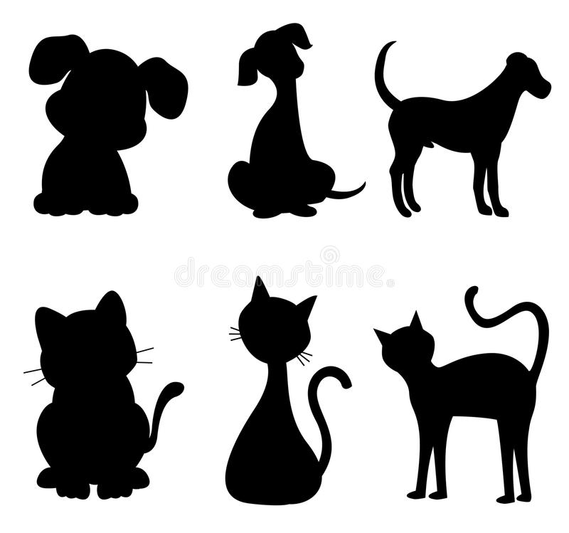Cat and dog. Cats and dogs silhouette black