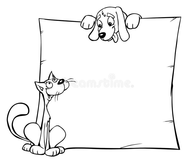 A cat and a dog. With the banner vector illustration