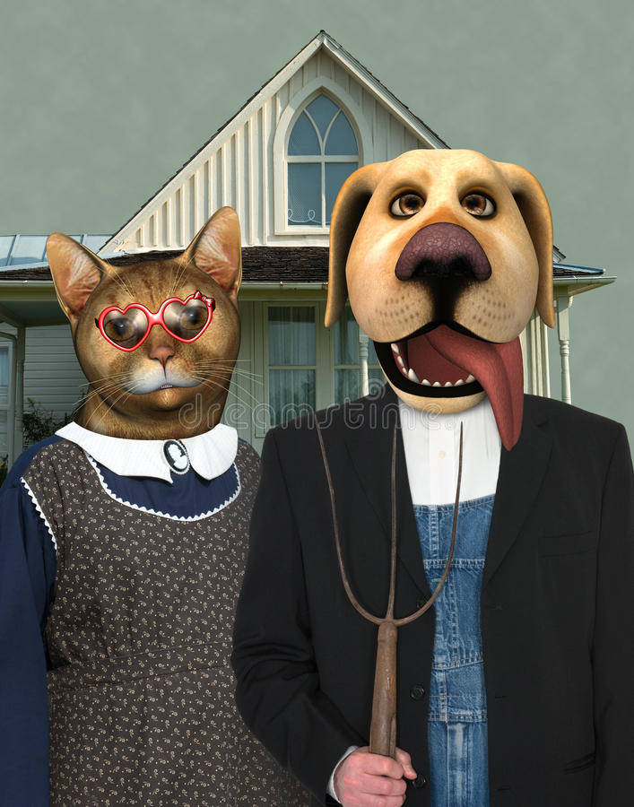 Cat Dog American Gothic engraçada fotografia de stock royalty free