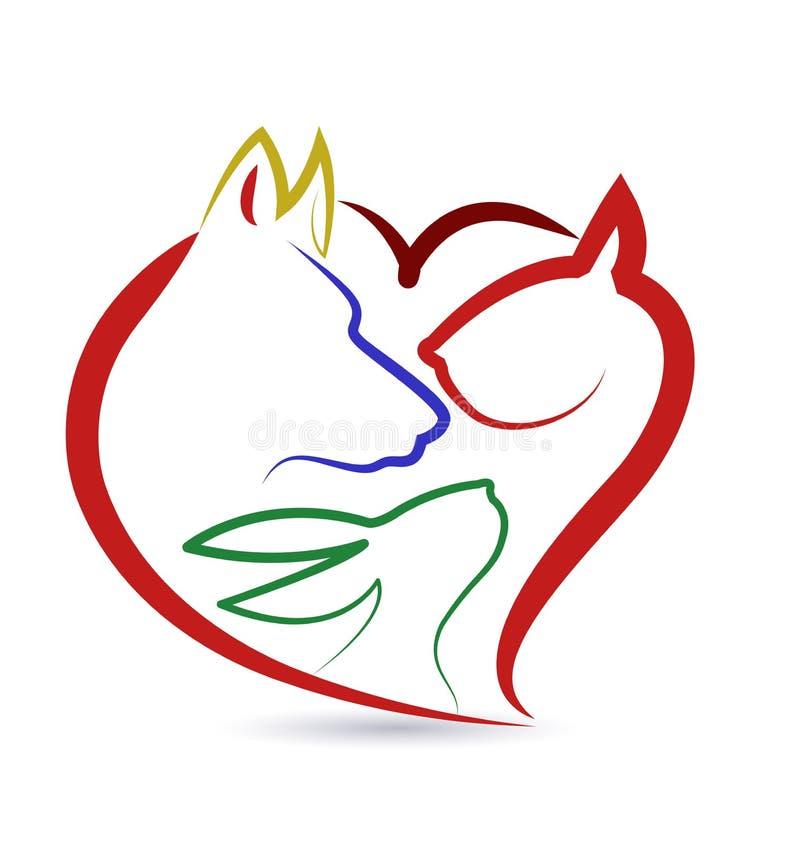 Cat dog bird and rabbit logo vector. Cat dog bird and rabbit heart shape creative design vector icon logo template
