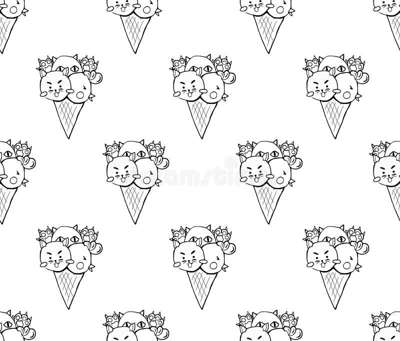 Cat Dog Chicken Ice Cream bonito no fundo branco Ilustração do vetor ilustração do vetor