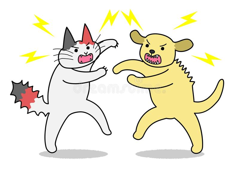 Cat and dog fighting stock illustration