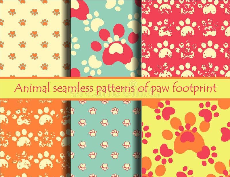Cat and dog footprints vector illustration
