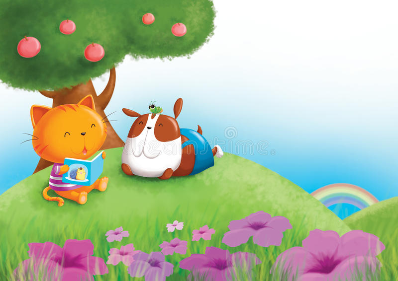 Cat, dog and grass hopper. Cat , dog and grass hopper enjoy reading the book under the tree royalty free illustration