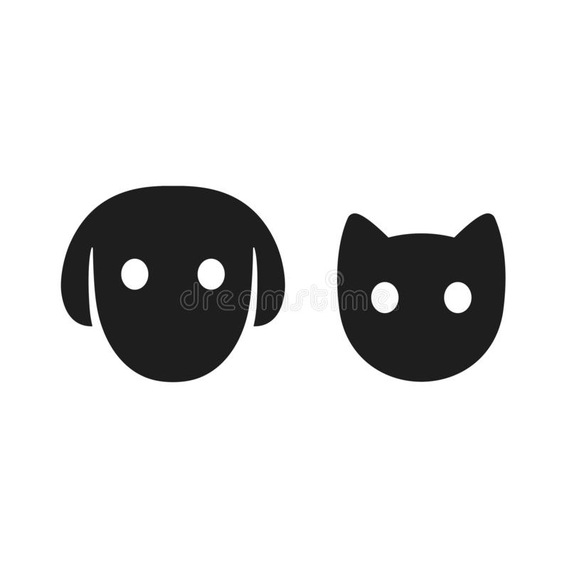 Cat and dog head icon stock illustration