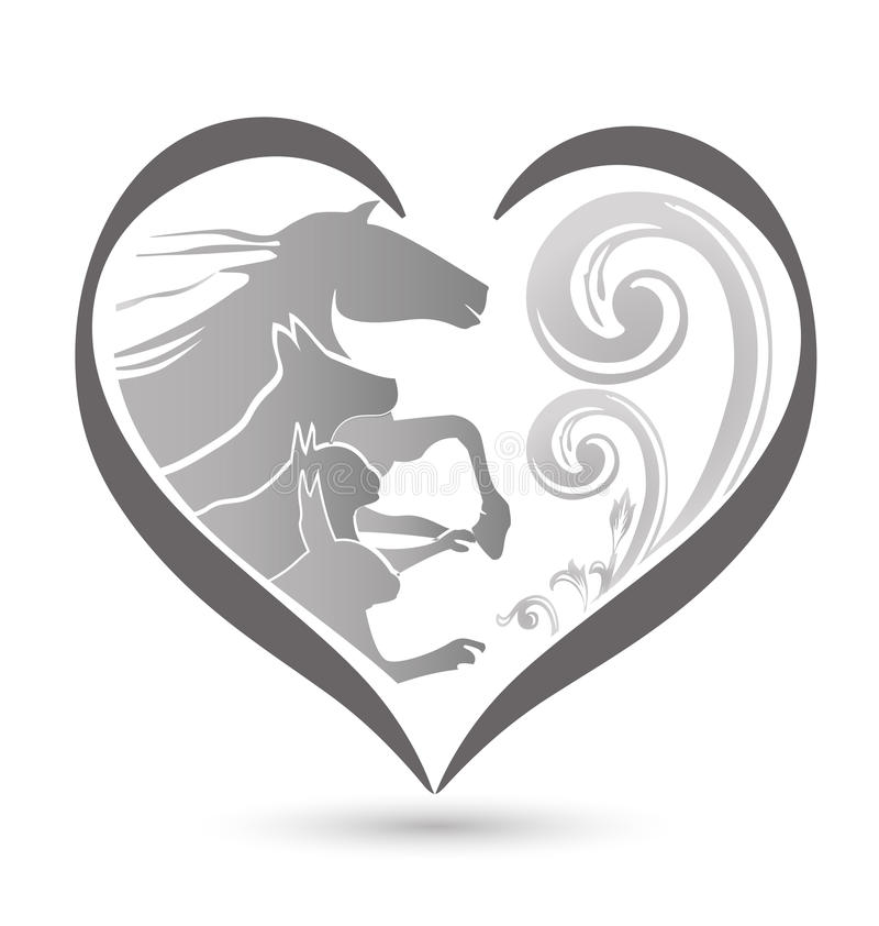 Cat dog horse and rabbit logo vector illustration
