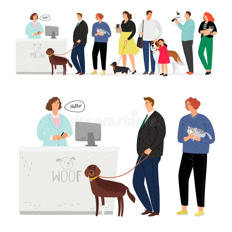 Cat and dog hospital queue royalty free illustration