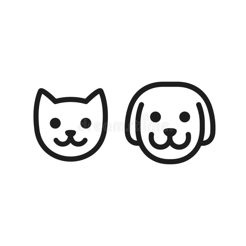 Cat and dog icon. Cat and dog head icon. Simple smiley pet face vector illustration set stock illustration