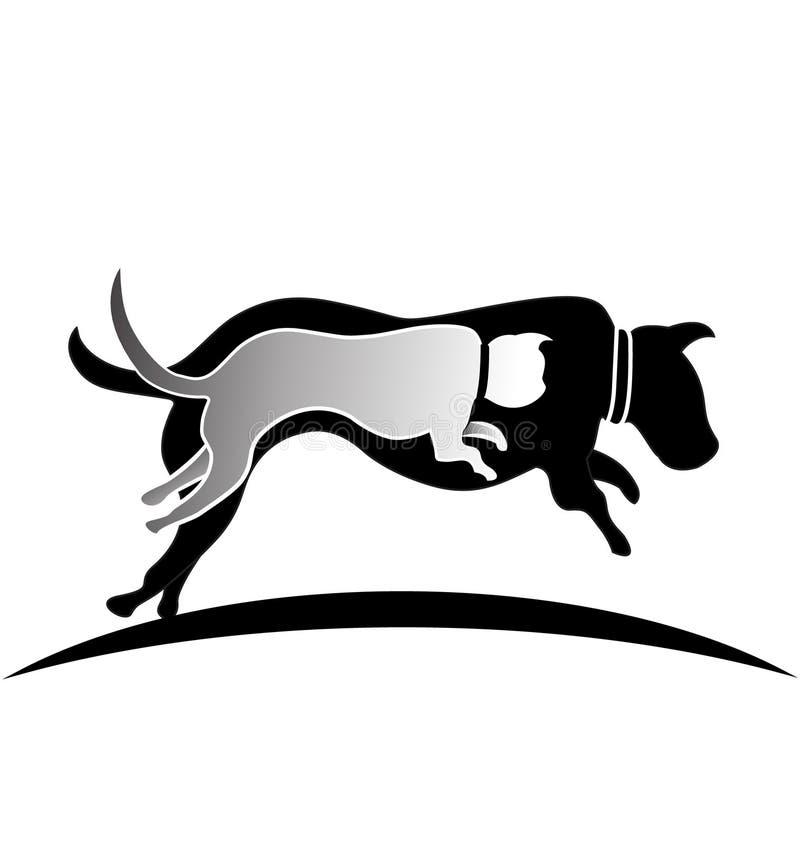 Cat and dog jumping logo stock illustration