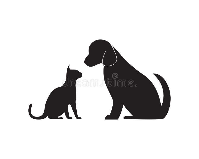 Cat and dog logo template illustration stock illustration