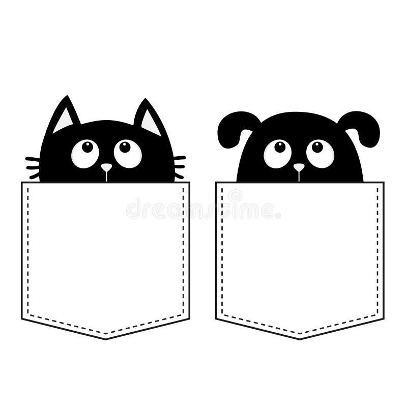 Cat Dog no bolso Animais bonitos dos desenhos animados Caráter do contorno do cão do cachorrinho da vaquinha do gatinho Linha do  ilustração do vetor