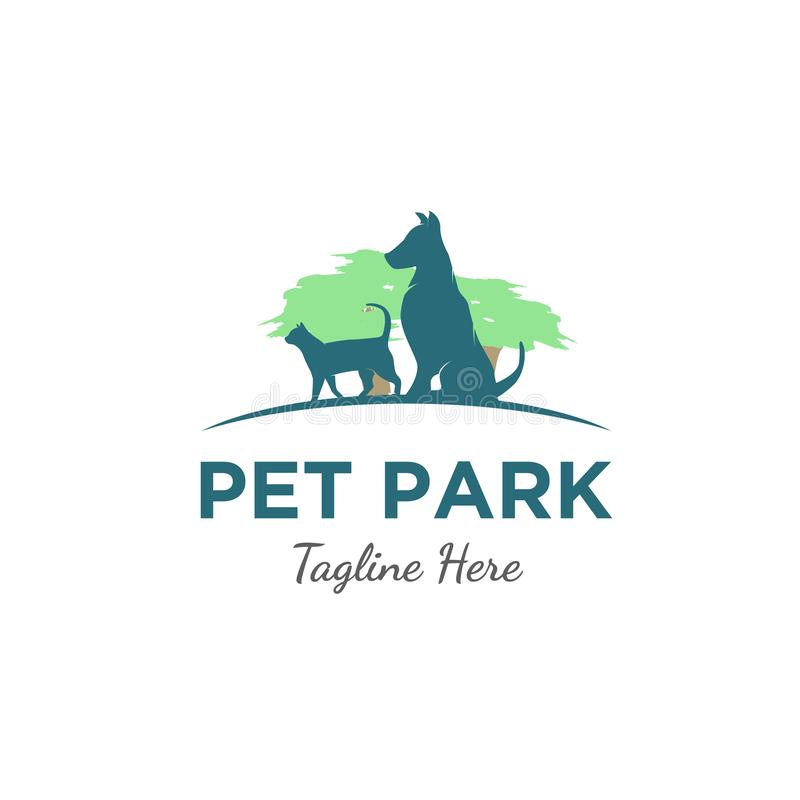 Cat and dog at park logo vector illustration