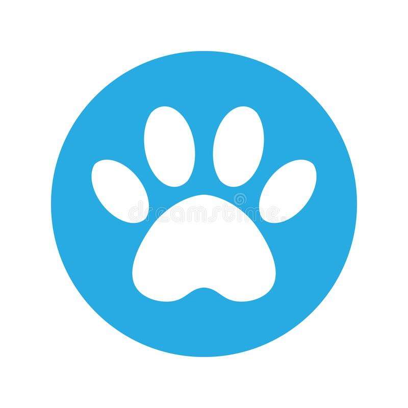 The dog`s track in the blue circle. cat and dog paw print inside circle royalty free illustration