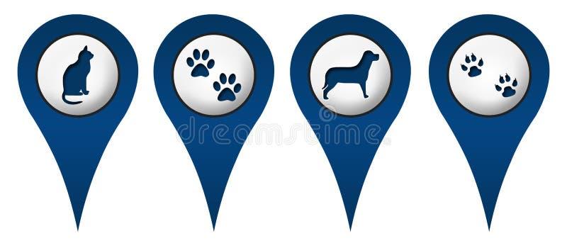 Cat Dog Paws Location Icons ilustração do vetor