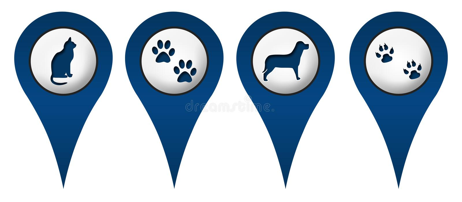 Cat Dog Paws Location Icons. Cat, dog and paws impressions on locations symbols vector illustration