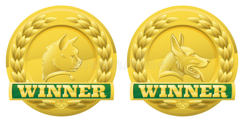 Cat and dog pet winners medals stock illustration