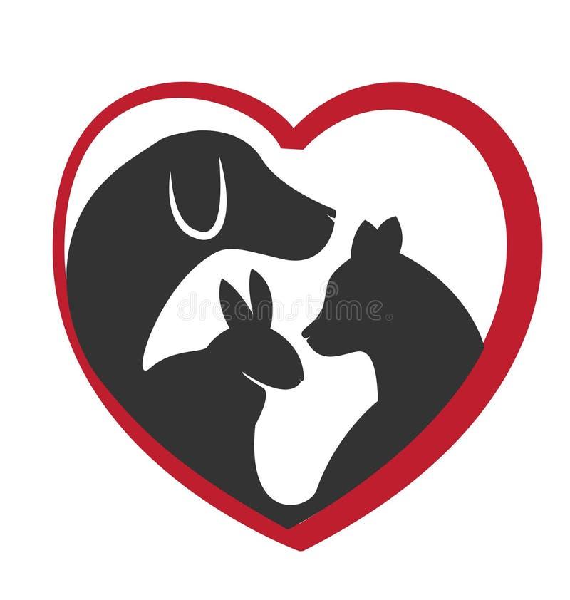 Cat dog and rabbit logo stock illustration