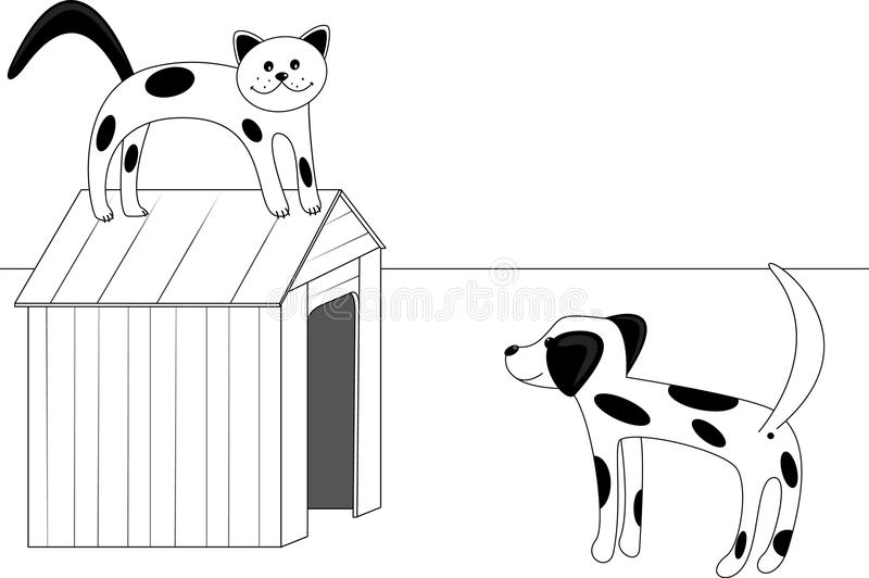 Download Cat and dog stock vector. Image of grayscale, illustration - 31147160
