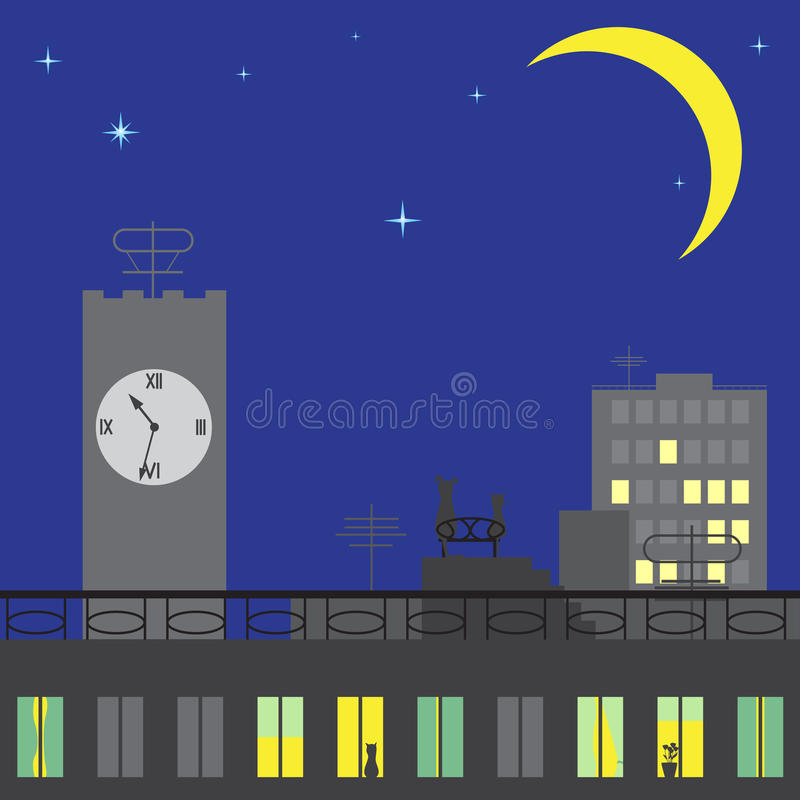 Cat and dog sitting on roof and looking on stars royalty free illustration