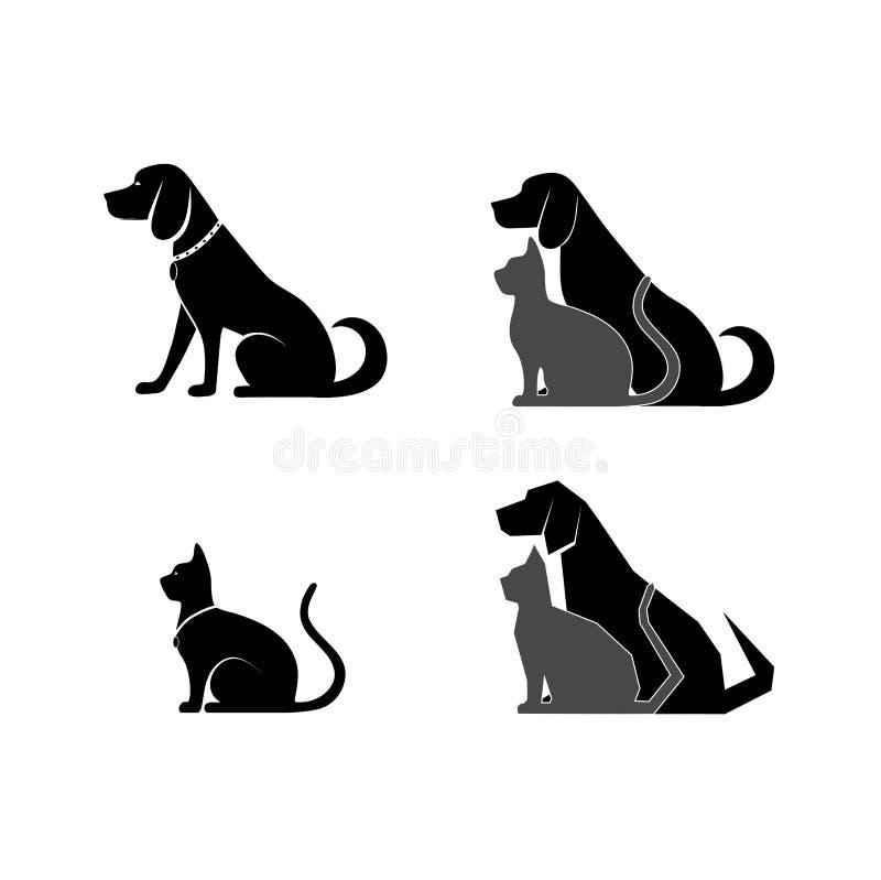 Cat and dog symbol of veterinary medicine stock illustration