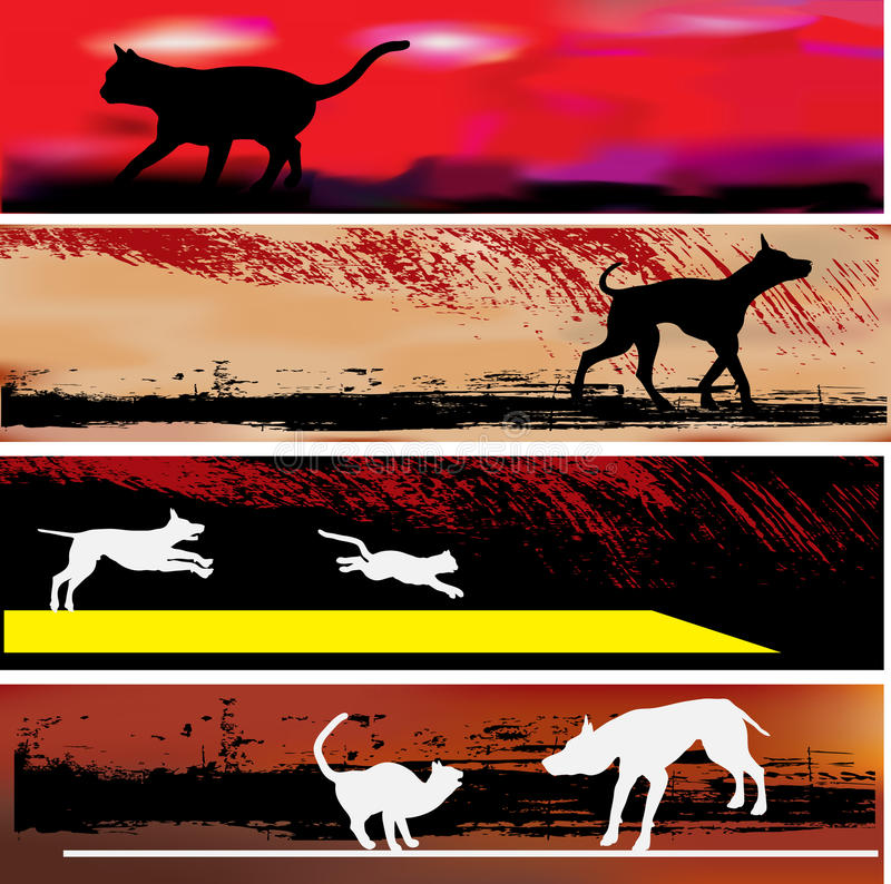 Download Cat And Dog Web Banner Templates Stock Vector - Image: 10058794