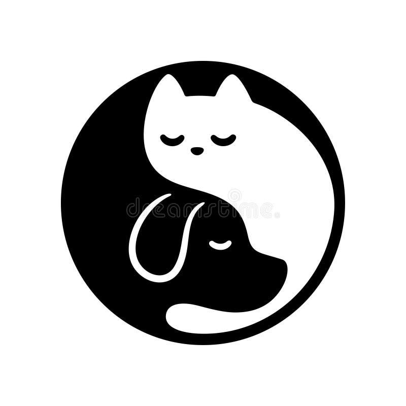 Cat dog yin yang vector illustration