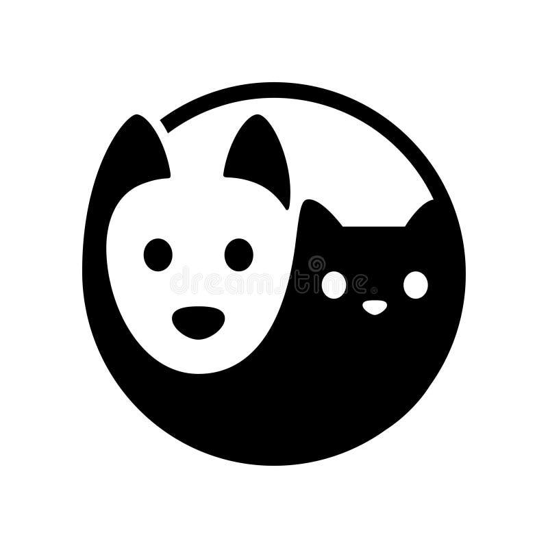 Cat dog yin yang. Cat and dog yin yang symbol. Simple, minimal cartoon white dog and black cat face. Isolated vector illustration stock illustration