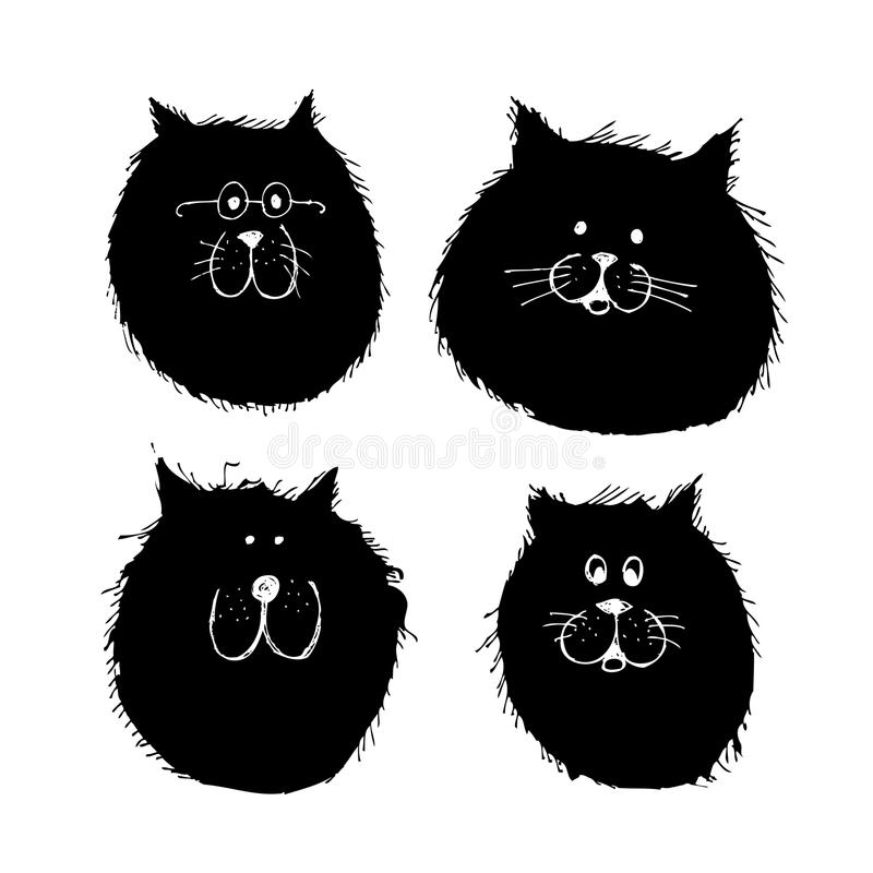 Download Cat And Dogs Faces Silhouette, Sketch For Your Stock Vector - Illustration: 34488958