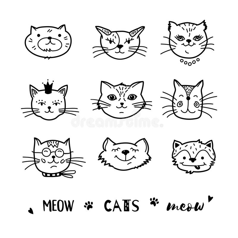 Cat doodle, Hand drawn cats icons collection. Cartoon comic cute kittens. Vector illustration stock illustration