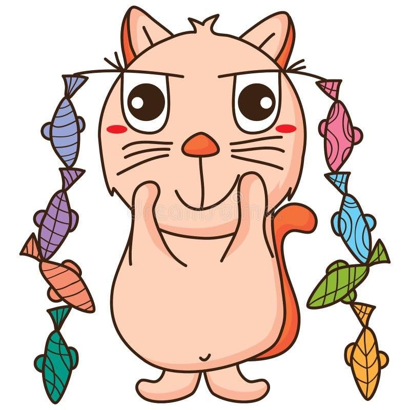 Cat dream fish stock illustration