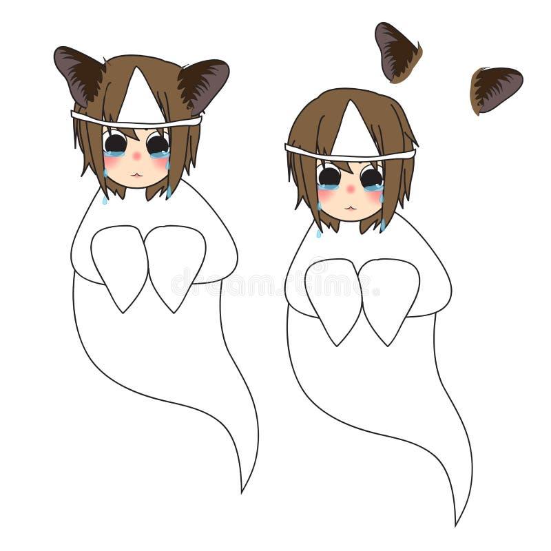 Cat Ears Girl Ghost Crying också vektor för coreldrawillustration bakgrund isolerad white vektor illustrationer